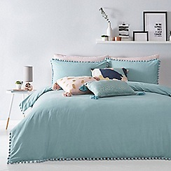 Home Collection Basics - Aqua 'Cosmo Romy' pom pom bedding set