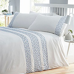 Home Collection - Blue 'Bronwyn' geo embroidery bedding set