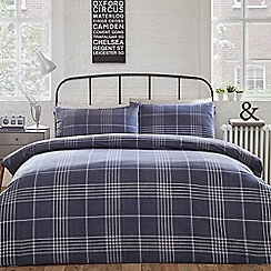 Home Collection - Blue 'Alex' check bedding set