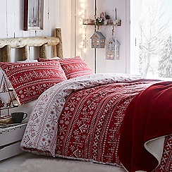 Home Collection - Red 'Scandi Fairisle' Bedding Set