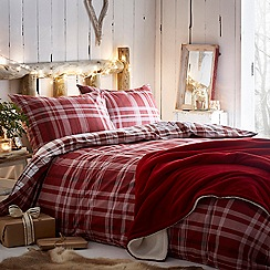 Debenhams - Red Brushed Check Bedding Set