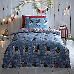 Home Collection - Multicoloured 'Christmas Llamas' Bedding Set