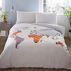 Home Collection Basics - White 'Watercolour Map' bedding set