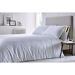 J by Jasper Conran - White 'Sateen stripe' duvet set