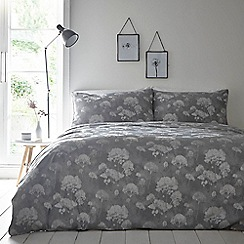 Debenhams - Grey 'Emily' jacquard duvet set
