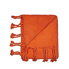 Home Collection Orange Hygge Knitted Throw