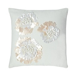RJR.John Rocha - White bead embellished cushion