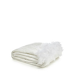 Star by Julien Macdonald - White velvet feather trim throw