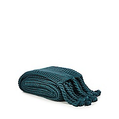 Home Collection - Dark turquoise chunky knit throw