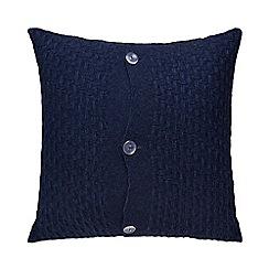J by Jasper Conran - Blue knitted button detail cushion