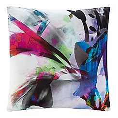 Lipsy - Purple floral print cushion