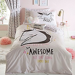 bluezoo - Multicoloured 'Awesome unicorn' bedding set