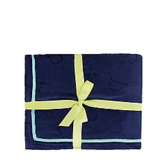 Baker by Ted Baker - Navy debossed logo fleece throw