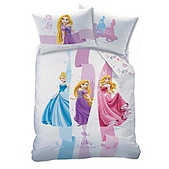Disney Princess - Kid's Multi-Coloured 'Ribbons' Disney Princess Print Duvet Cover and Pillow Case Set