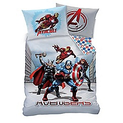 Marvel - Kid's Multi-Coloured 'City' Marvel Avengers Print Duvet Cover and Pillow Case Set