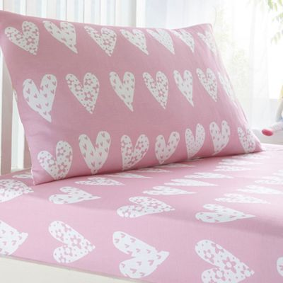 Kids bedroom kids debenhams bluezoo kids pink heart print fitted sheet and pillow case set gumiabroncs Image collections