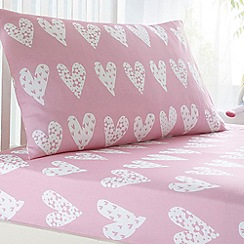 bluezoo - Kids' pink heart print fitted sheet and pillow case set