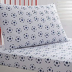 bluezoo - Kids' white 'Football' fitted sheet and pillow case set