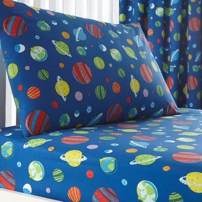 306004681894: Blue Space Print Fitted Sheet and Pillow Case Set