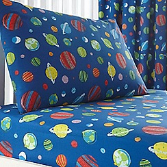 bluezoo - Kids' blue space print fitted sheet and pillow case set