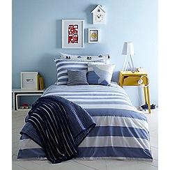 J by Jasper Conran Kids - Blue 'Chambray' stripe bedding set