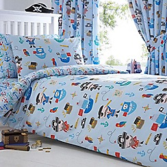 bluezoo - Kids' blue 'Pirates' duvet cover and pillow case set