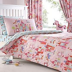 bluezoo - Kids' pink 'Castle And Unicorns' duvet cover and pillow case set
