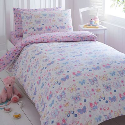 Bluezoo Kids Pink Sarah Jane Butterfly Duvet Cover And