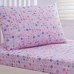 bluezoo - Kids' pink 'Sarah-Jane Butterfly' fitted sheet and pillow case set