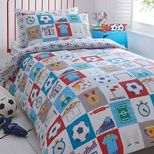 Bluezoo Kids White Football Duvet Cover And Pillow Case Set