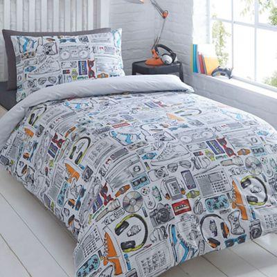 Bluezoo Kids White Gadget Duvet Cover And Pillow Case Set