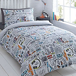 bluezoo - Kids' white 'Gadget' duvet cover and pillow case set