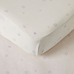 bluezoo - Light pink heart print fitted sheet