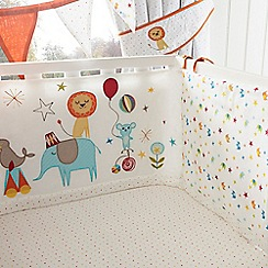bluezoo - Kids' white circus print cot bed bumper