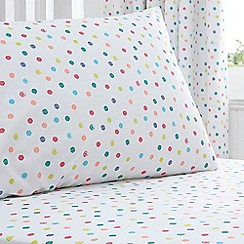 bluezoo - Kids' white spotted print fitted sheet and pillow case set