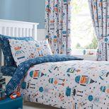 Bluezoo Kids Blue And White Robots Duvet Cover Pillow Case Set