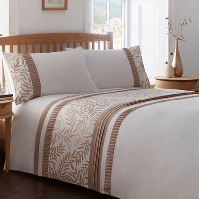 Home Collection White And Brown Leaf Print Bedding Set Debenhams
