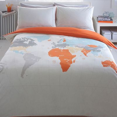 Ben de lisi home light grey world map print bedding set debenhams gumiabroncs Image collections