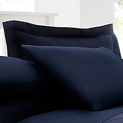 Debenhams - Navy Cotton Rich Percale Oxford Pillow Case Pair