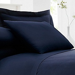 Debenhams - Navy Cotton Rich Percale Pillow Case Pair