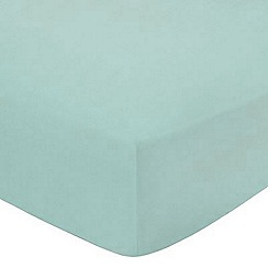 Debenhams - Turquoise cotton rich percale fitted sheet