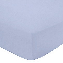Debenhams - Pale blue cotton rich percale 180 thread count fitted sheet