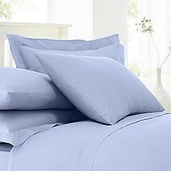 Debenhams - Pale blue cotton rich percale 180 thread count standard pillowcase pair