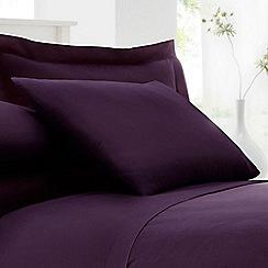 Debenhams - Plum cotton rich percale pillow case pair