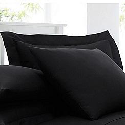 Debenhams - Black cotton rich percale Oxford pillow case pair