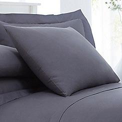 Debenhams - Grey Cotton Rich Percale Pillow Case Pair