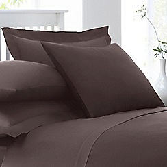 Home Collection - Dark brown cotton rich percale Oxford pillow case pair