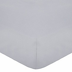 Debenhams - Silver cotton rich percale fitted sheet