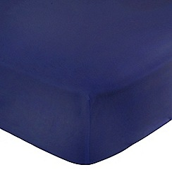 Debenhams - Navy Brushed Cotton Flannelette Fitted Sheet
