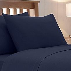Debenhams - Navy Brushed Cotton Flannelette Standard Pillow Case Pair